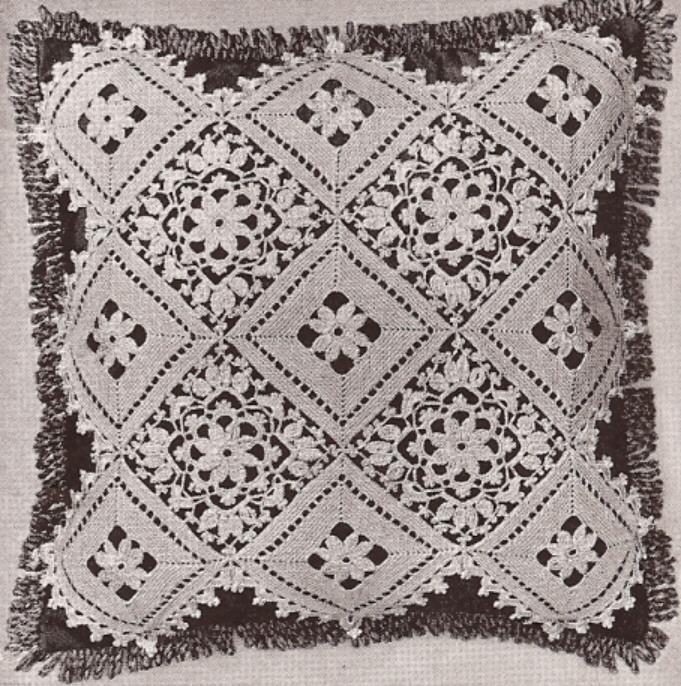 Vintage Crochet MOTIF BLOCK Lace Flower Bedspread Pattern ...