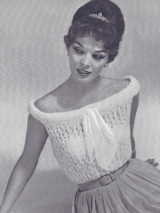 Knitting Patterns For Mohair Sweaters : Vintage Knitting PATTERN Knitted Mohair Shell Sweater ...