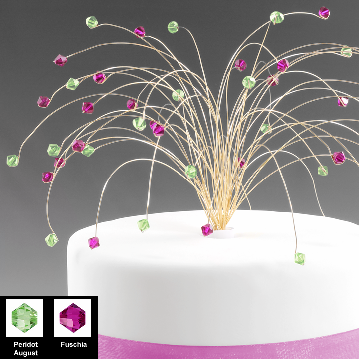 Fuschia and Lime Green Crystal Cake Topper for Birthday or Wedding