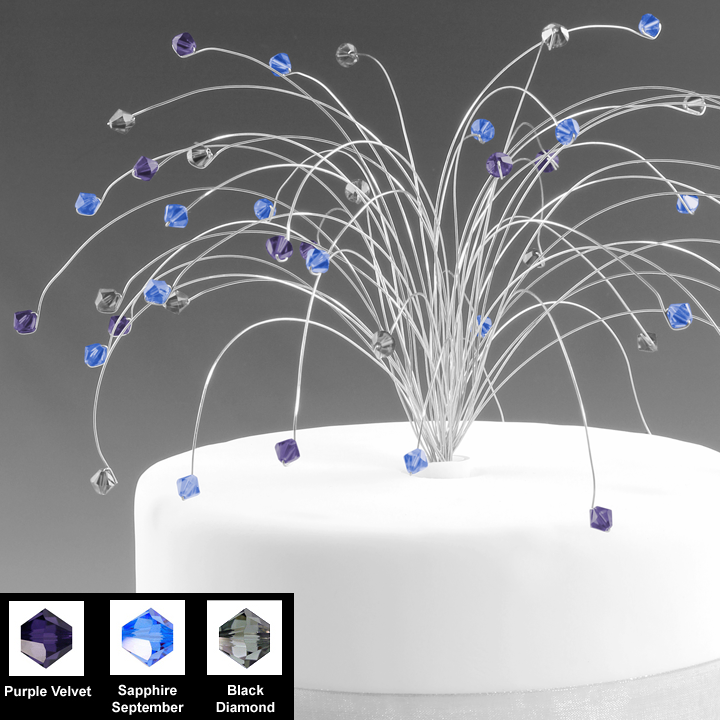 Purple, Grey, and Blue Wedding Cake Topper Crystal Spray