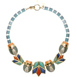 LOTUS & SCARAB NECKLACE - BLUE FLAME