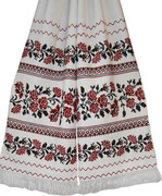 #рушник вишиваний  з квітами на домотканому полотні