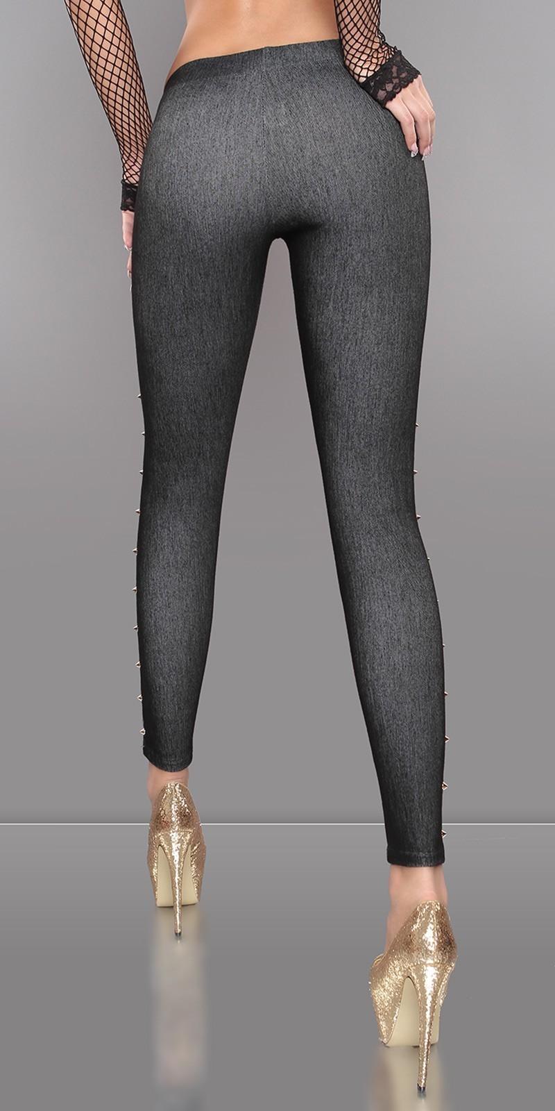 Leggings jeans negros. Leggings vaqueros con tachuelas en la costura ...