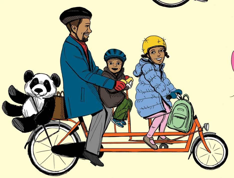 Detail, family biking with Panda