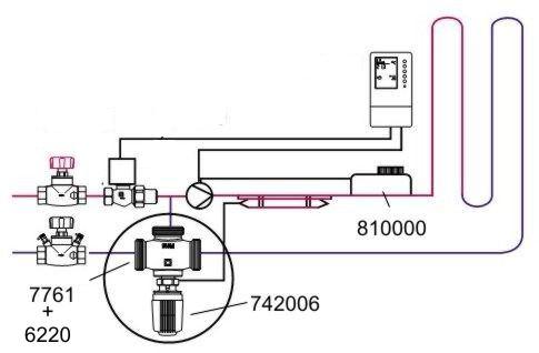 Клапан трехходовой Herz CALIS-TS DN20, 776102 = 1... Комплект для узла подмеса в контур теплого пола до 50м2.