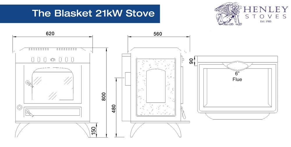 Henley Stoves - Blasket 21 Black Enamel Boiler Stove