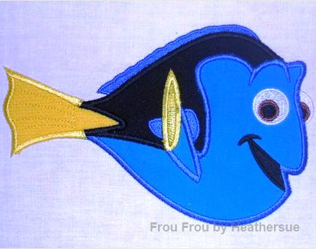 Dorine neemo blue tang fish machine applique embroidery for Blue tang fish price