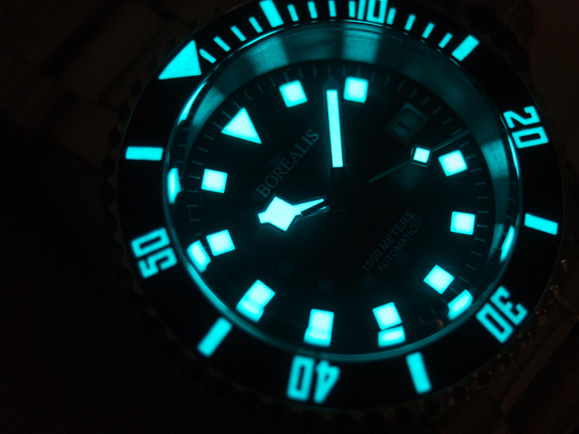 Borealis Sea Hawk 1500m Diver Watch Green Ceramic Bezel Black Dial