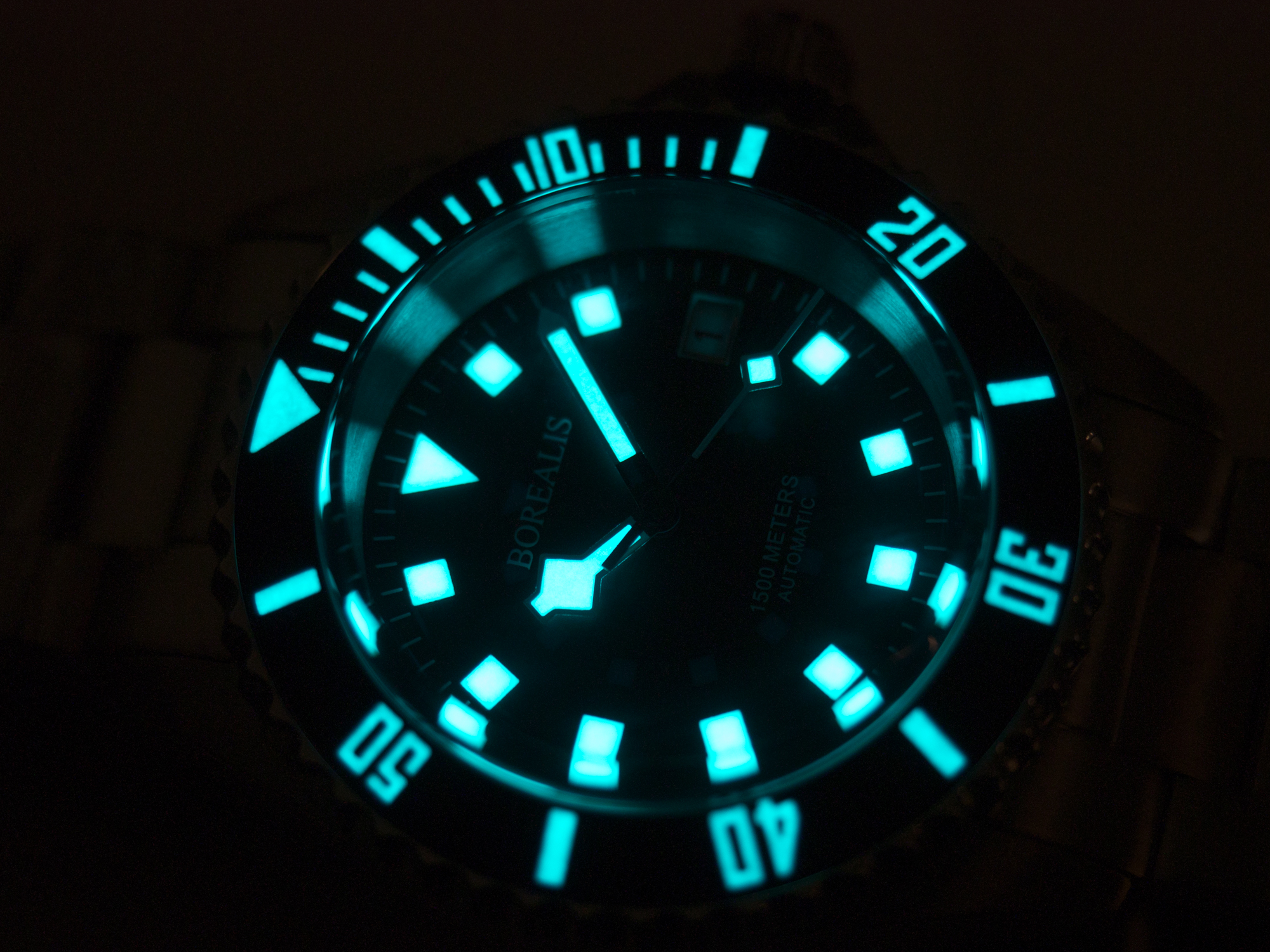 Borealis Sea Hawk 1500m Diver Watch Black Ceramic Bezel Black Dial Lume