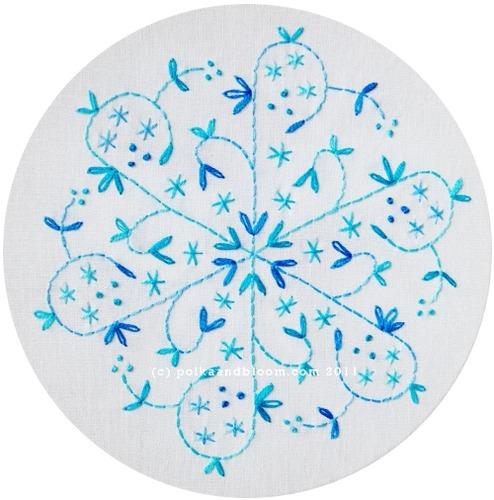 Aqua Snowflake Embroidery Pattern