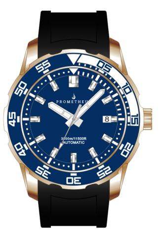 Prometheus Poseidon Bronze CuSn8 Blue White Bezel 3500m Miyota 9015 Automatic Diver Watch
