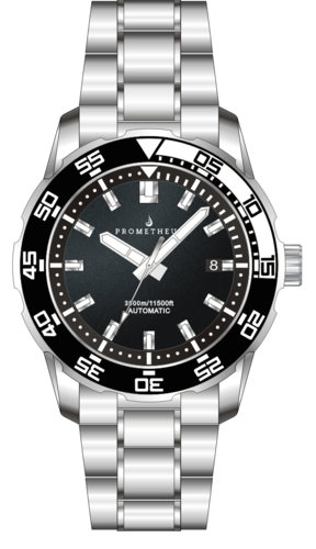 Prometheus Poseidon Stainless Steel Black White Bezel 3500m Miyota 9015 Automatic Diver Watch