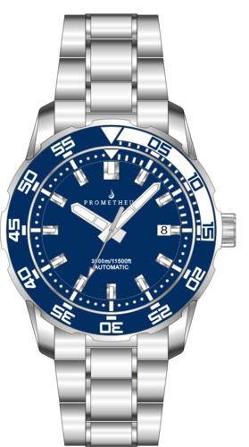 Prometheus Poseidon Stainless Steel Blue White Bezel 3500m Miyota 9015 Automatic Diver Watch