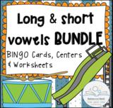 Long vs Short Vowels BUNDLE (BINGO Game Cards & Practice Worksheets)