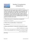 Antarctica Reading Comprehension