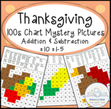 Thanksgiving-Themed 100s Chart Addition/Subtraction Mystery Pictures