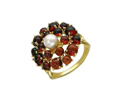 Кольцо Цветок, жемчуг в центре, камни формы Кабошон по краям, желтое золото, 585 проба