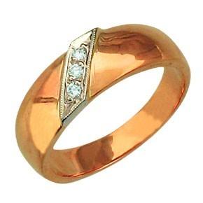 Кольцо обручальное три фианита по диагонали, красное золото 6мм