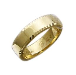 Кольцо обручальное широкое с алмазной огранкой по краям, желтое золото 5 мм
