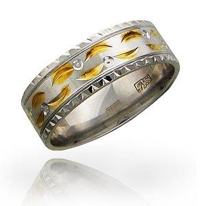 Обручальное кольцо Фантазийное алмазная огранка, белое золото, 7.2 мм