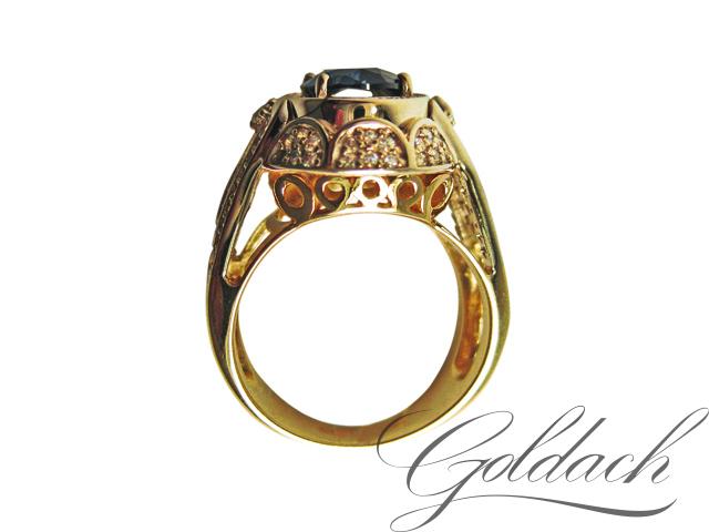 Кольцо мужское с сапфиром и фианитами, красное желтое золото 585 пробы