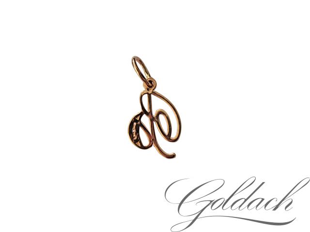 Буква В с завитушкой и фианитами, красное золото 585 проба