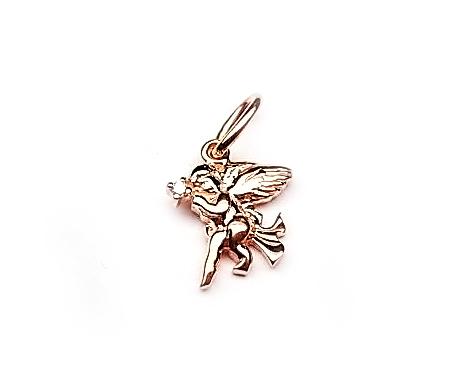 Кулон Ангелочек Купидон с бриллиантом и крылышками, красное золото