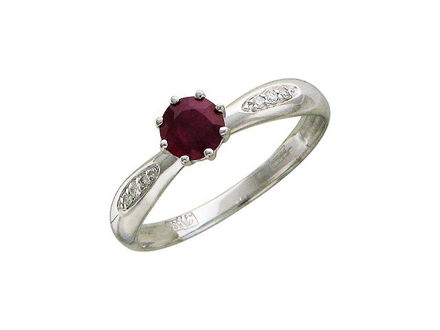 Кольцо с круглым сапфиром/рубином/изумрудом и бриллиантами по бокам, белое золото
