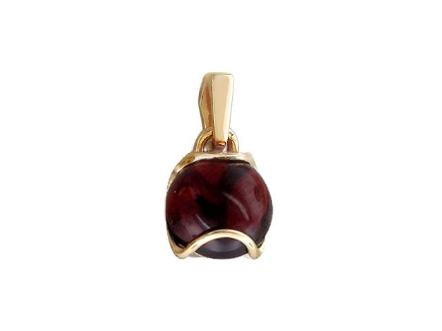 Кулон с круглым гладким камнем кабошон, красное золото, 585 пробы