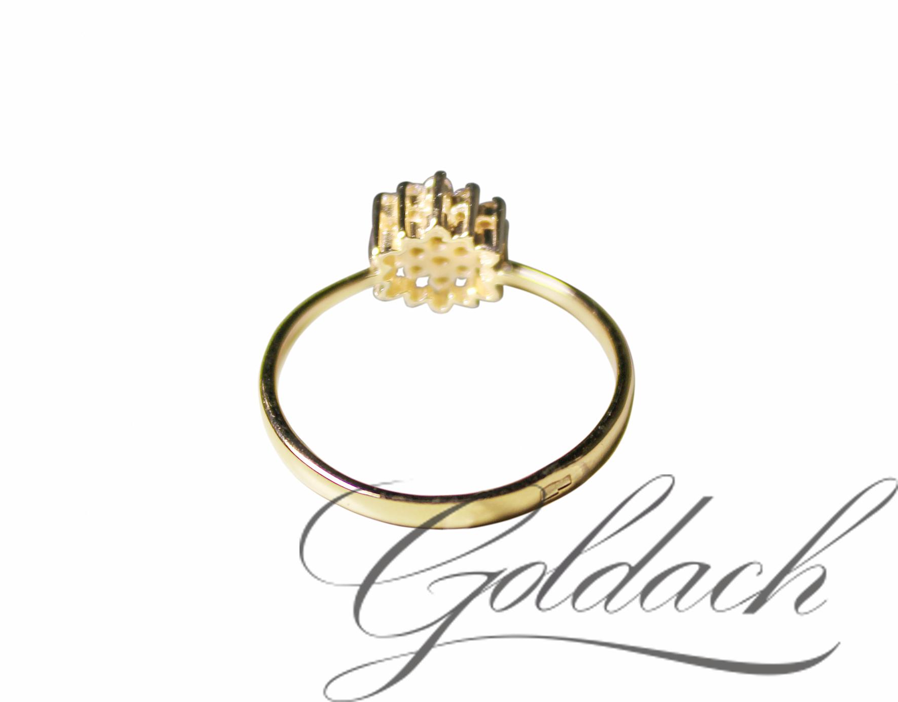Кольцо, фианитовый букет, желтое золото, 585 проба