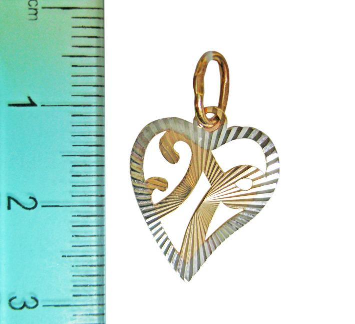 """Буква """"П"""" в сердечке, красное золото, родирование, алмазная грань"""