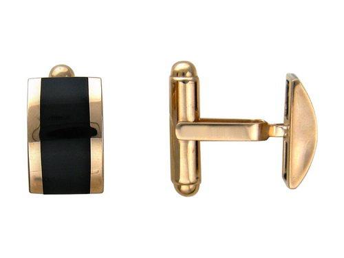 Запонки прямоугольные с Ониксом черным, красное золото