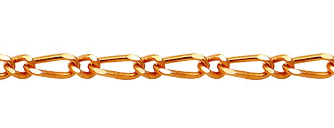 Фигаро 1+1 без огранки, красное золото, 585 пробы 2.5мм
