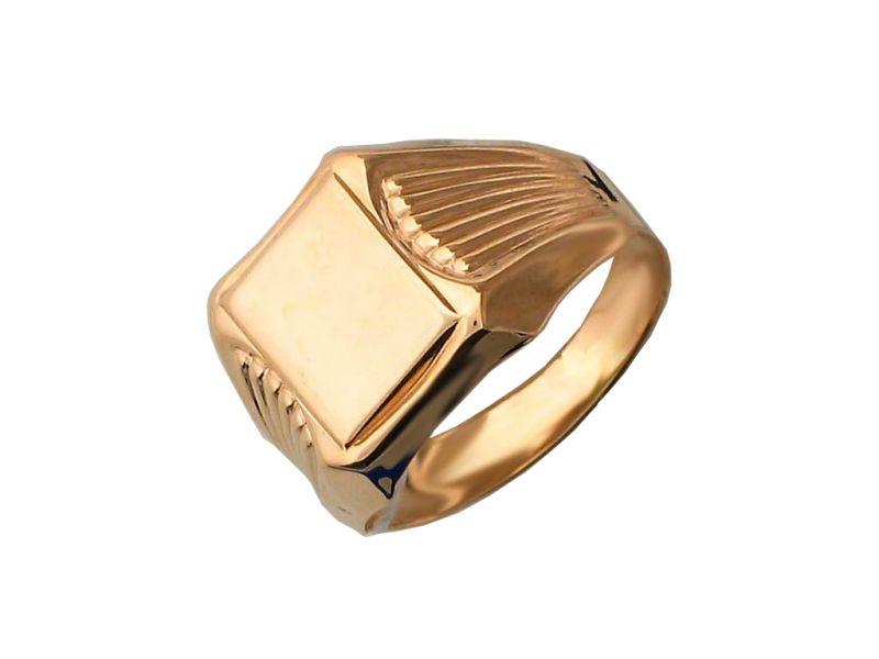 Мужское золотое кольцо с квадратной площадкой, красное золото, 585 пробы