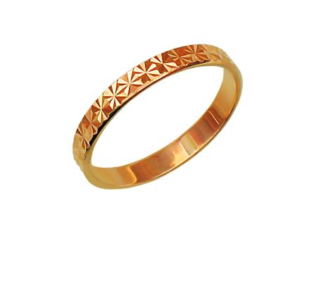 Кольцо обручальное с огранкой звездочка, красное золото, 3 мм