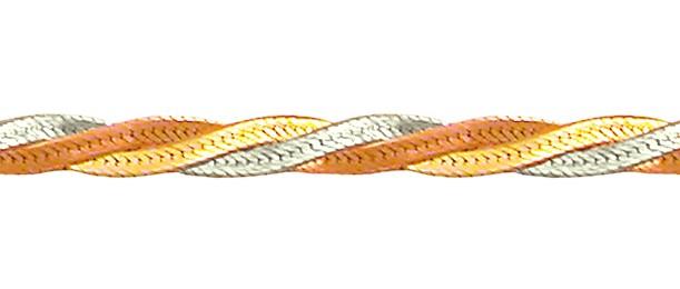 Браслет Коса диагональная из трех полос, красное белое и желтое золото 3мм