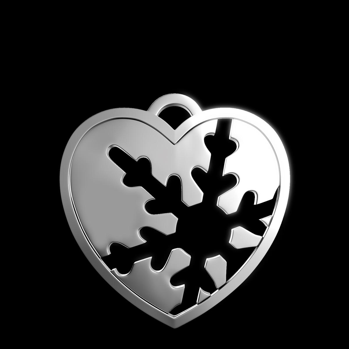Кулон Холодное Сердце, внутри силуэт снежинки, белое золото