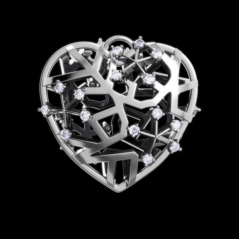 "Кулон ""Сердце"", бриллиантовые снежинки внутри, белое золото"