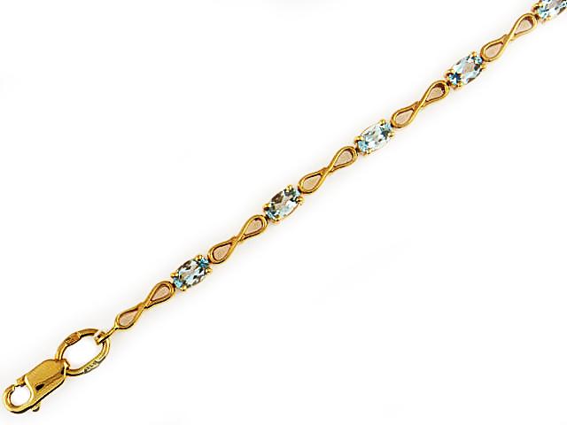 Золотой браслет с полудрагоценной вставкой, огранка Овал, золотые восьмерки, знак бесконечность