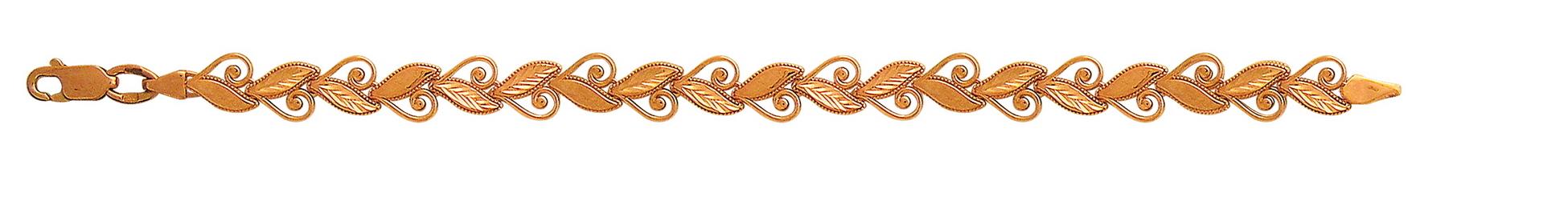 Браслет Завитушки и листочки, красное золото 7мм