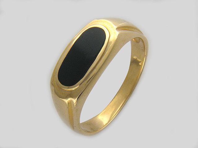Кольцо мужское овал из черного оникса золото, 585 пробы