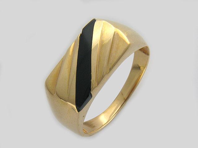 Кольцо мужское полоса из черного оникса золото, 585 пробы