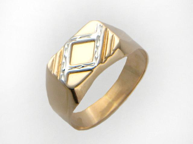 Мужское кольцо, алмазная грань и родирование ромб, красное золото 585 проба