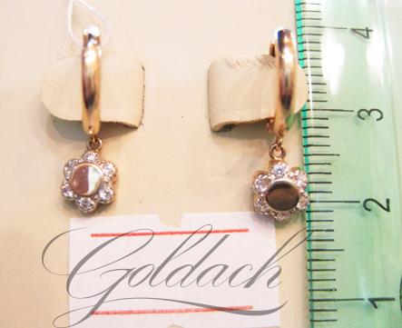 Серьги-кольца с цветочком и фианитами, красное золото, 585 проба d=10mm