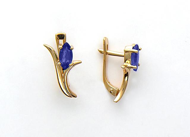 Золотые серьги Тюльпан с драгоценными камнями Маркиз, красное золото
