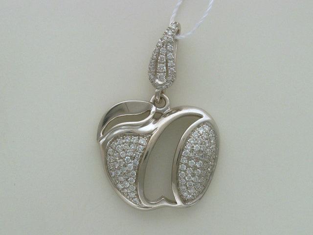 Кулон Яблоко с бриллиантами, белое золото 585 пробы
