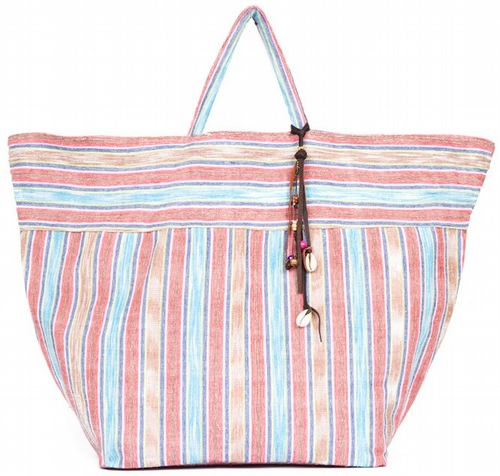 Samui Stripe Beach Tote Small - Red