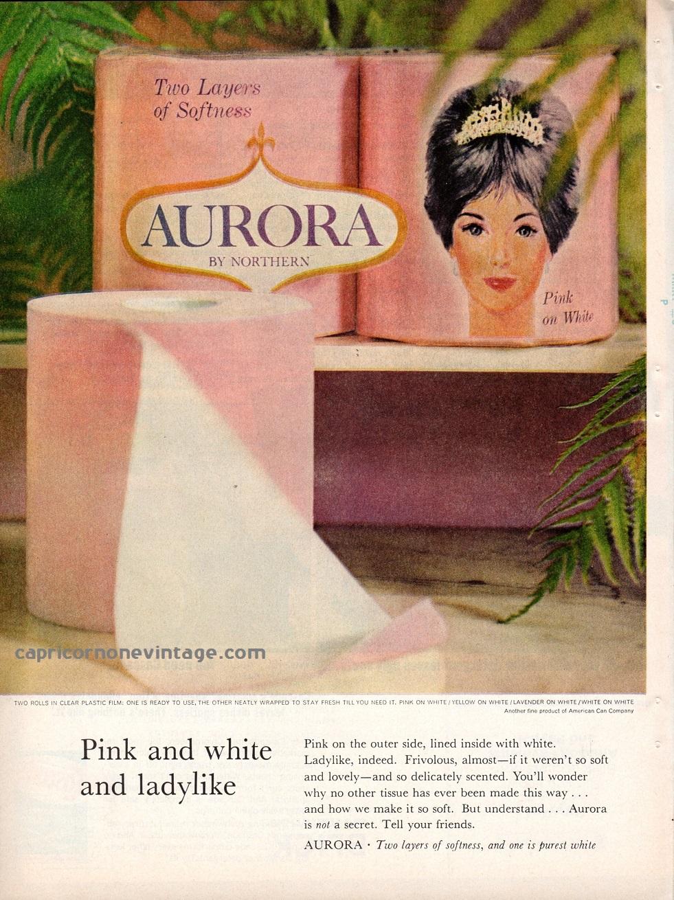 Vintage 1965 aurora toilet paper magazine ad mid century for Bathroom accessories ads