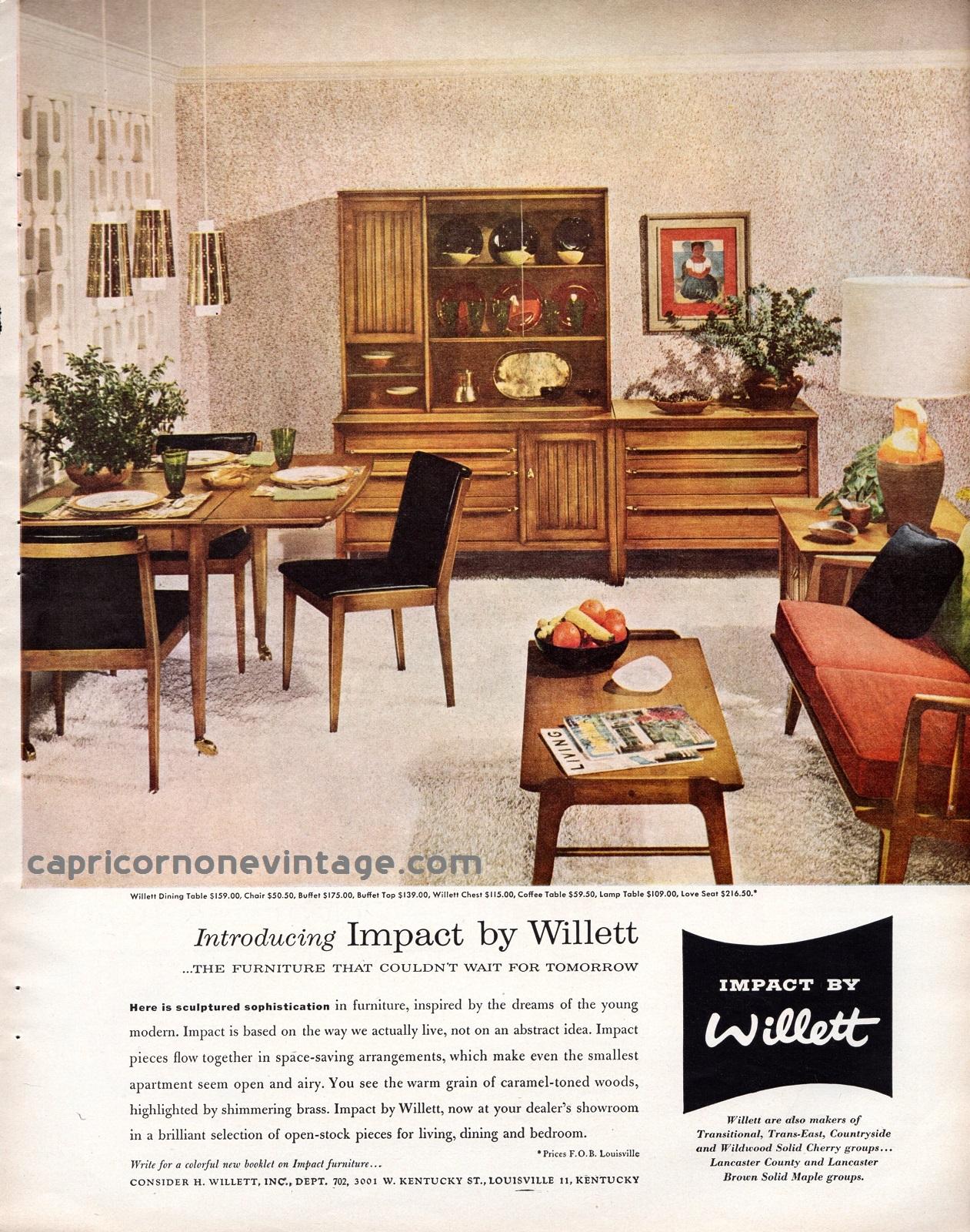 1957 impact by willett furniture magazine ad mid century modern