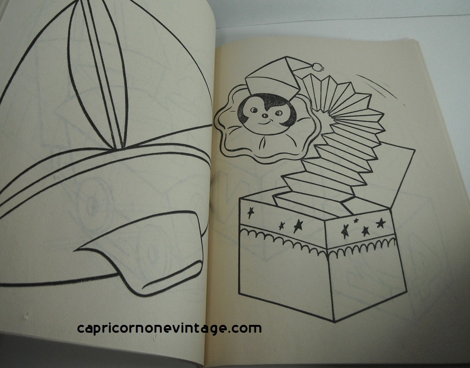 Vintage 1971 Unused Coloring Book Roly Poly Toys And Objects Cute Illustrations